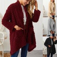 Женское Новое Стильное плюшевое зимнее пальто с длинными рукавами