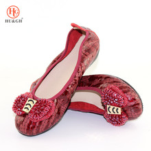 Lady Folding Ballerina Shoes Foldable Ballet Flat Fold up Rollable Shoes Hot Sale Big Size Crystal Flat Shoe Elegant Comfortable flats nude roll up 10 shoes cute big size 11 bow foldable ballet chinese 43 metal ballerina women 2018 china large kawaii