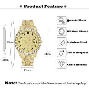 Image 3 - MISSFOX relojes con números arábigos para hombre, reloj de lujo de marca superior, oro de 18k, Diamante grande con Canlender, Reloj clásico para hombre Iced Out