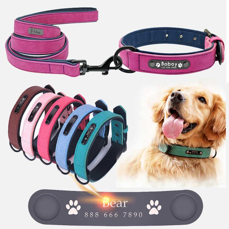 Anjing Kerah Kustom Pribadi Kulit Anjing Kerah Nama ID Tag untuk Kecil Menengah Besar Anjing Kerah Berwarna Merah Muda Hitam Hijau Mawar biru