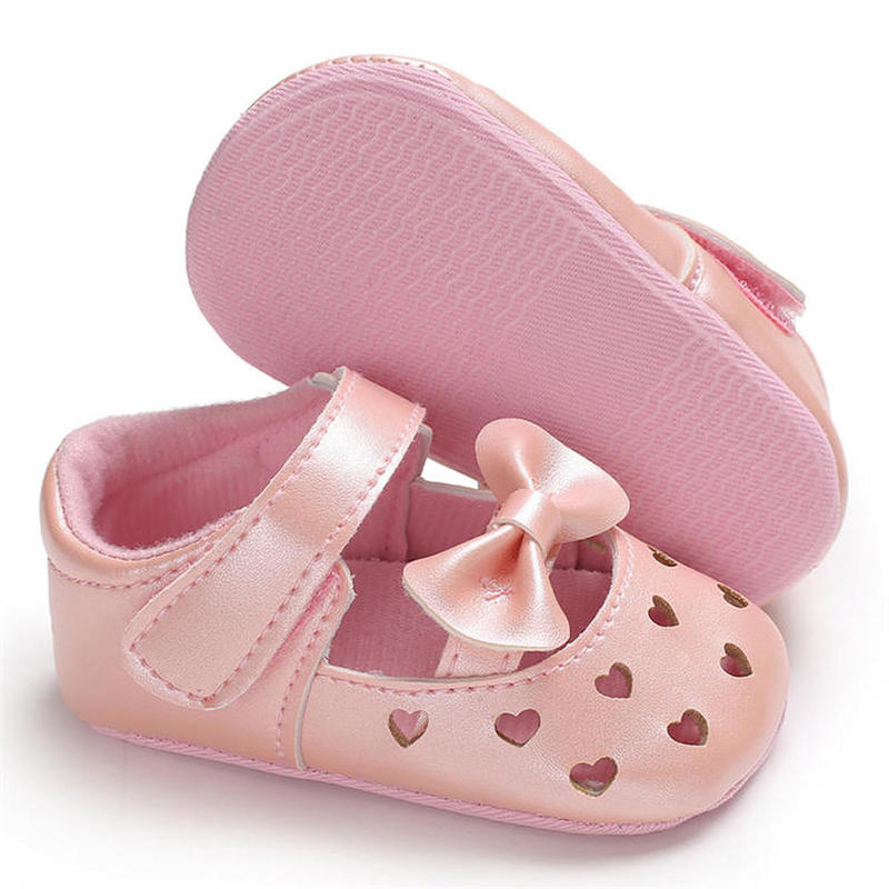 Baby Infant Shoes Girl Crib Shoes Love Shape Bowknot Breathable  Newborn Toddler First Walkers Shoes Girl