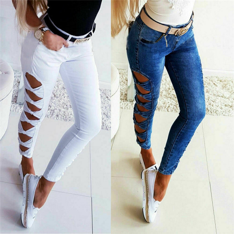 Sexy Women Ladies High Waist Jeans Side Hollow Out Destroyed Ripped Distressed Slim Cool Denim Pants Jeans Pencil Trousers Solid