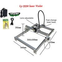 Ly 500mw 2500mw 10 w azul 3550 laser violeta mini máquina de gravura a laser altura ajustável tamanho escultura 35*50 cm|Roteadores de madeira| |  -