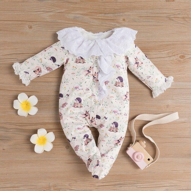 US Autumn Winter Clothes Newborn Infant Kids Baby Girls Clothes Animal Print Romper Jumpsuit Playsuit Clothes 0-24 Months