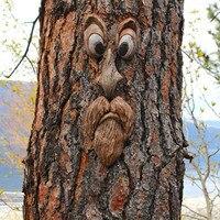 Viejo hombre árbol Hugger jardín caca yarda arte árbol exterior divertida de vieja cara de hombre escultura, Cara de árbol de decoración de jardín