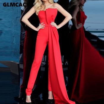 Damskie eleganckie Party rury kombinezony nieregularne marka projekt długie spodnie Sexy elegancki Backless formalna kombinezon tanie i dobre opinie GLMCACY Pełnej długości Poliester Streetwear Skrzydeł Suknem Stałe MZX140
