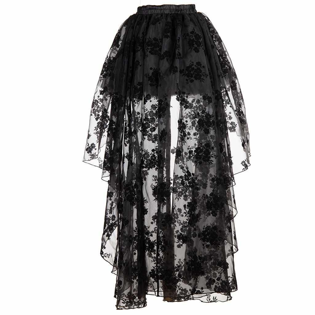 JOONDSHE kadınlar düzensiz siyah dantel gotik Steampunk etek çiçek cadılar bayramı etek parti Vintage etekler düğün Faldas Mujer