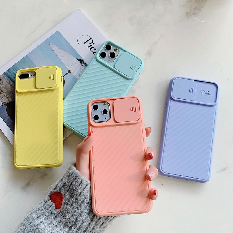 For iPhone 11 Slide Camera Lens Protection Case For iPhone 11 Pro Max XR XS Max 6 6S 7 8 Plus X Soft TPU Silicone Back Cover