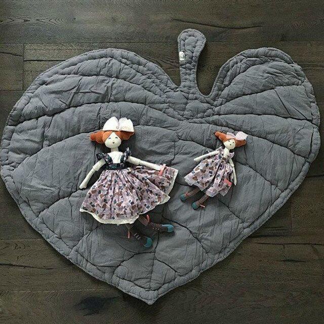 Cartoon Leaves Shape Baby Play Mat Foldable Kids Crawling Blanket Pad Carpet Rug Toys Cotton Children Room Decor Mat