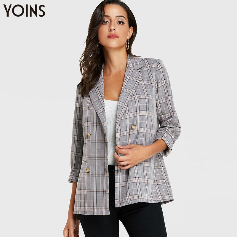 YOINS 2019 Autumn Winter Blazer Women Jackets Coats Grid Double-breasted Lapel Long Sleeves Feminino Grey Casual Work Streetwear