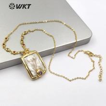 WT MN956 天然淡水真珠ネックレスランダムシェイプドロップ小さな宝石ストーンネックレスレディチャームヴィンテージデザインジュエリー