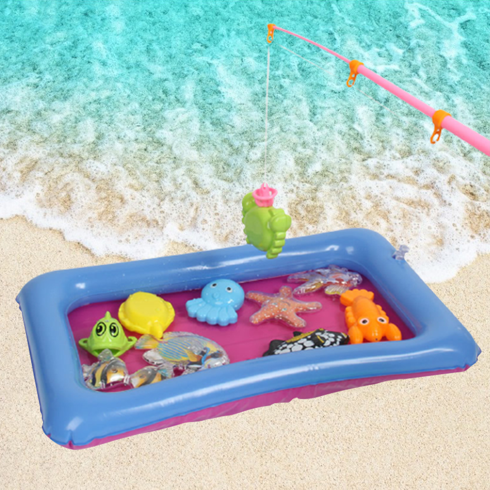 Magnetic Fishing Toys For Children Water Swimming Bath Animal Fishing Toys Pretend Play Indoor Beach Fishing Toy Kit