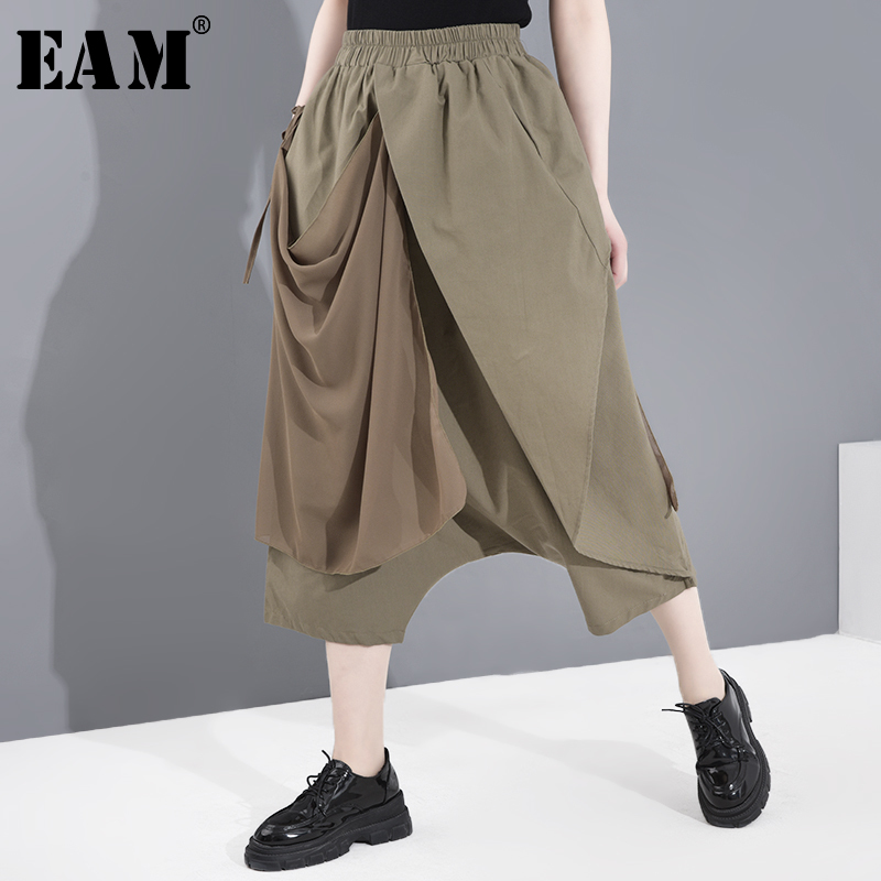 [EAM] High Elastic Waist Khaki Chiffon Split Harem Trousers New Loose Fit Pants Women Fashion Tide Spring Summer 2020 JF89701
