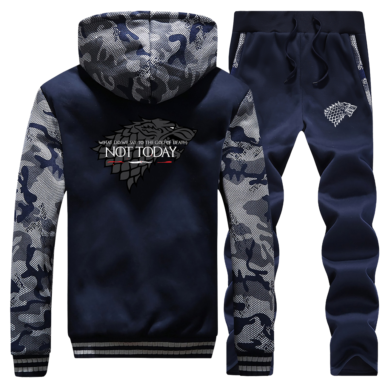 Game Of Thrones Not Today Hoodies Pants Set Men Wolf Cksuit Coat Track Suit Winter Thick Jacket Militray Sportswear 2 Piece Sets