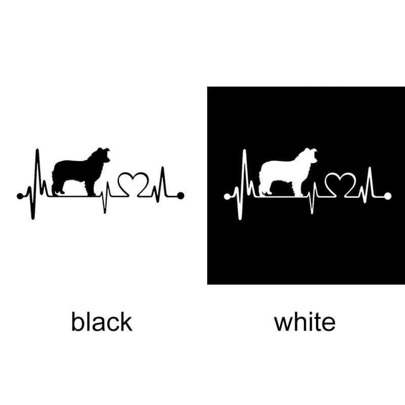 19*8.3CM border collie pies bicie serca kalkomanie pokrowiec na samochód zadrapania dekoracyjne akcesoria