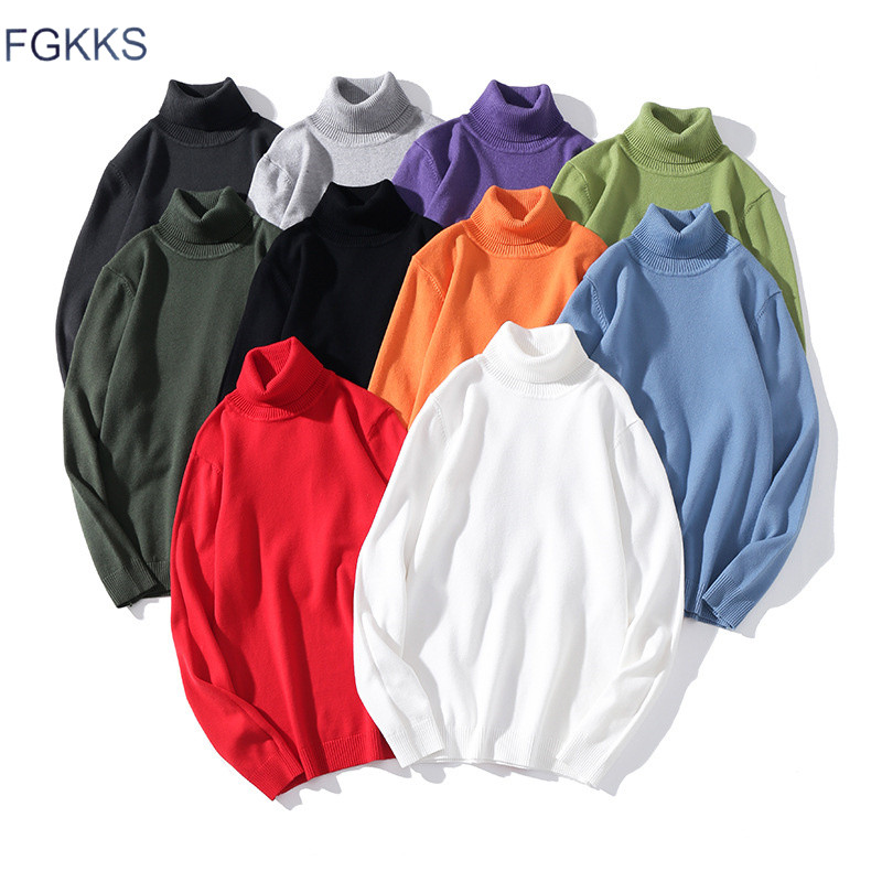 FGKKS Brand Men Turtleneck Sweaters Winter New Mens Warm Fashion Slim Fit Pullovers Male Solid Color Long Sleeve Sweater Tops