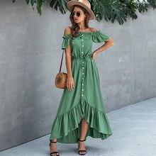 Nedeins vestido de verão das mulheres vestido longo elegante fora do ombro vestidos para as mulheres mais tamanho vestido plissado verão