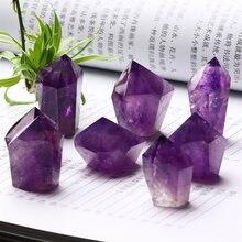Baguette en cristal améthyste naturel, 1 pièce, cristal de Quartz minéral, bijoux de maison moderne, accessoires de décoration de jardin, bricolage, cadeaux