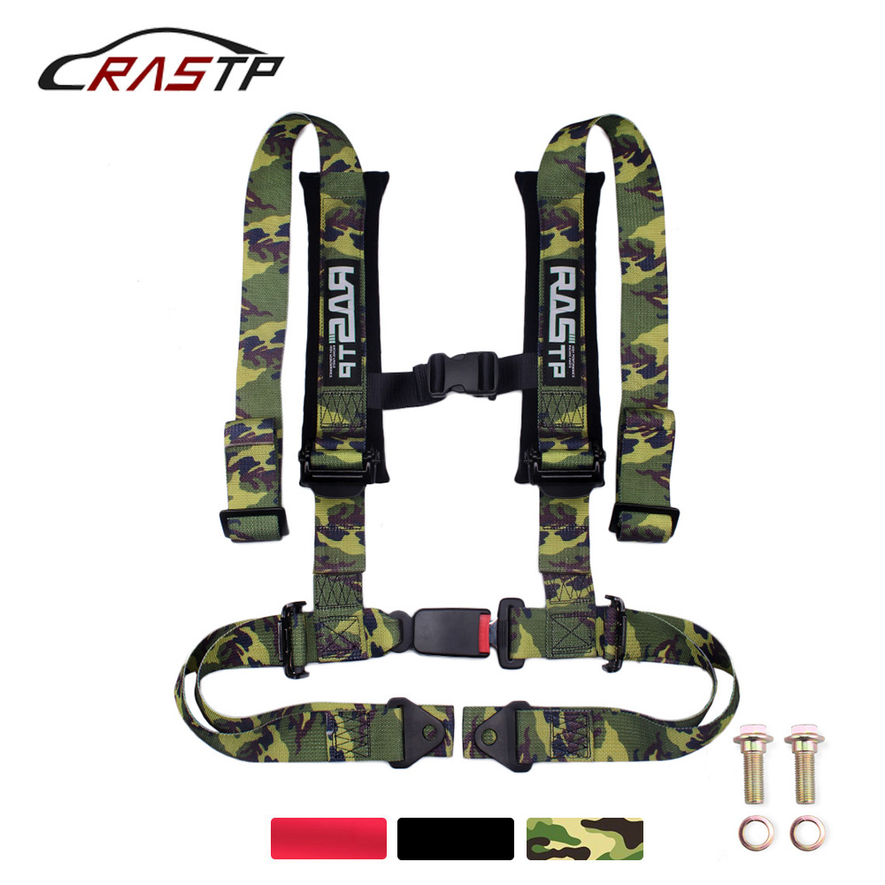 Gray RASTP 4 Point Racing Safety Harness Set with 2 Straps for Racing Seat with SFI Certified