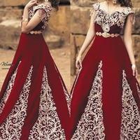 SuperKimJo Arabic Traditional Prom Dresses Vestidos Largos De Fiesta Burgundy Lace Applique Muslim Vintage Prom Gowns