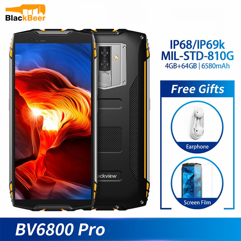 Blackview BV6800 Pro IP68 Waterproof android smartphone 4GB+64GB 5.7 18:9 4G lte mobile phone 16MP 6580mAh NFC Wireless charger image
