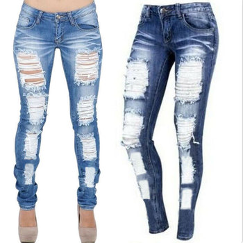 Foreign Trade European New Faded Denim Large Hole Elastic Jeans Women платье foreign trade 2014