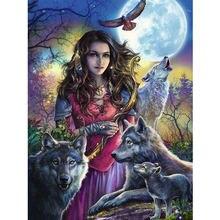 Новейшая Алмазная картина вышивка крестиком волком группа девушек