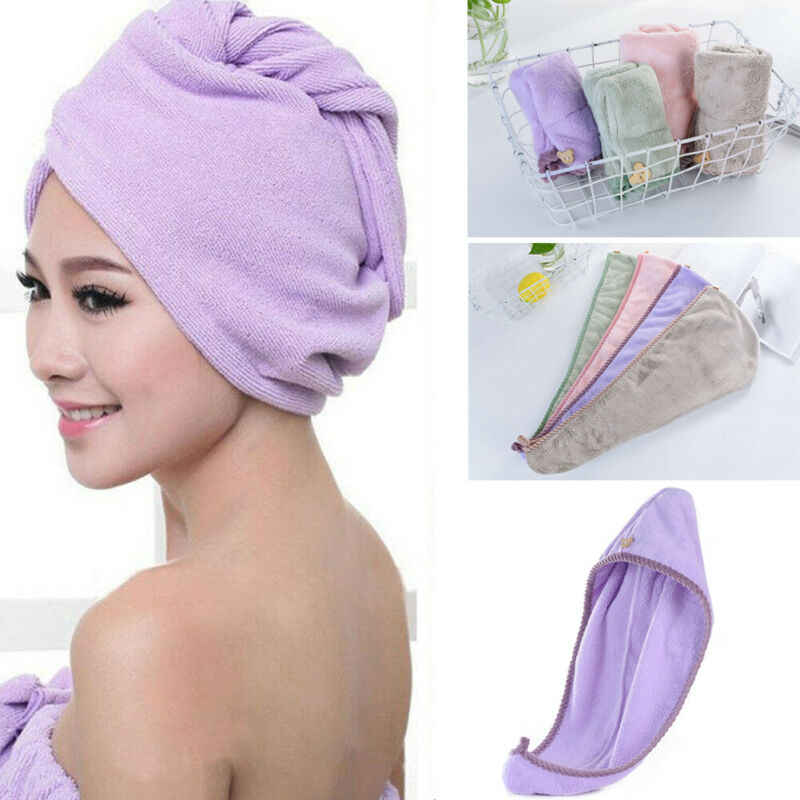 Hot Magic Hair Drying Towel Hat Cap Microfibre Quick Dry Turban For Bath Shower Pool Shower Caps