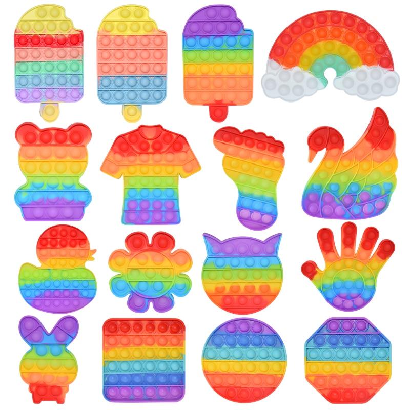Rainbow Antistress Bubble Fidget Toy Autisim Game Kawaii Kids Stress Relief Squishy Fidget Hand Finger Toys for Children Adult