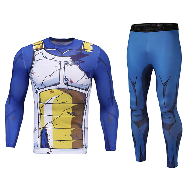 Summer Yoga Clothes 3D Dragon Ball Printed Slim Fit Quick-Dry Running Sports Fitness Tights Trousers Two-Piece Set