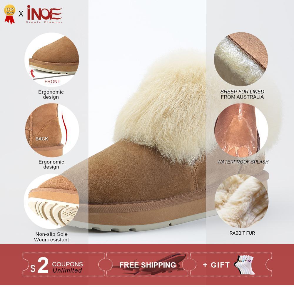 INOE mode véritable peau de mouton en cuir daim fourrure doublé femmes fourrure de lapin hiver court cheville bottes de neige pour les filles zipper chaussures d'hiver-in Bottes de neige from Chaussures    2
