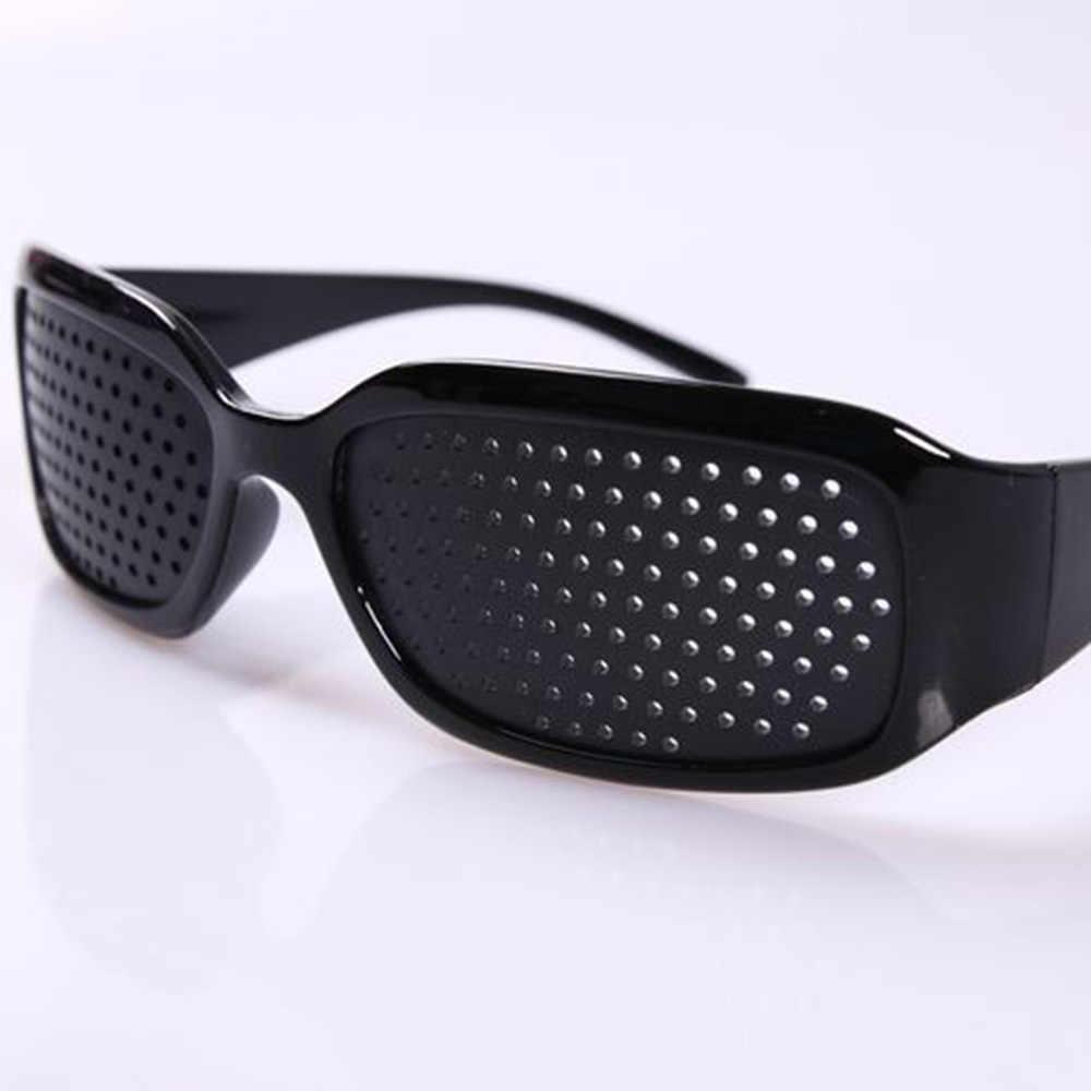 1 çift gözlük Stenopeici Bates yöntemi adam kadın eğitim görünümü iğne deliği siyah Relax gerilim katarakt tedavisi