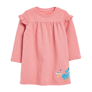 1-7 Years Floral Cotton Dress for Kids Baby Girl  Long-sleeved Doll Collar Clothes for Toddler Girl  for Autumn and Spring  2020 - Color 12, 3T