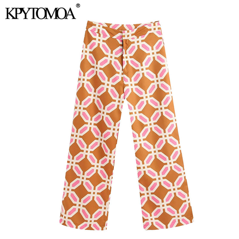KPYTOMOA Women 2020 Chic Fashion Geometric Print Pants Vintage Zipper Fly Side Pockets Female Ankle Trousers Pantalones Mujer
