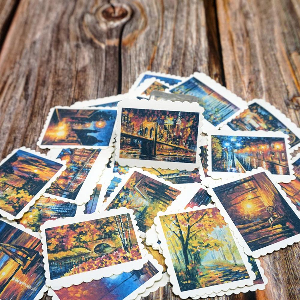 42PCS/Bag Travel Landscape Decorative Stickers DIY Album Diary Scrapbooking Stationery Stickers Student Gift Stickers