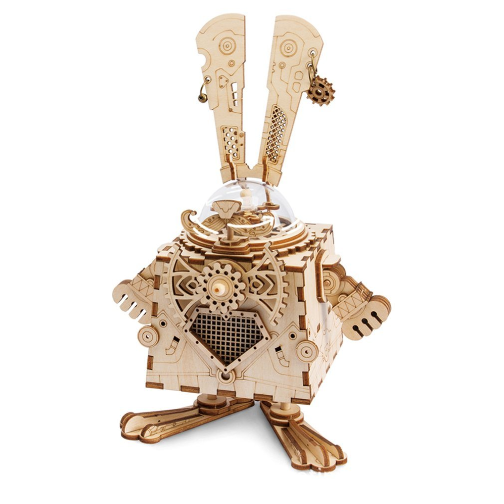 Diy Creative Gifts 3D Wooden Music Box Mechanical Music Box Robot Home Decoration Punk Rabbit Crafts
