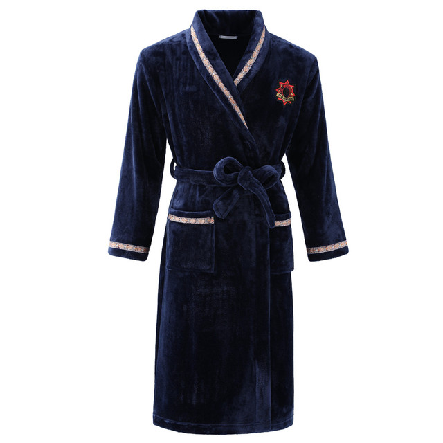 Men Casual Bathrobe Autumn Winter Flannel Long Robe Thick Warm Sleepwear Plus Size 3XL Nightgown Male Casual Home Wear