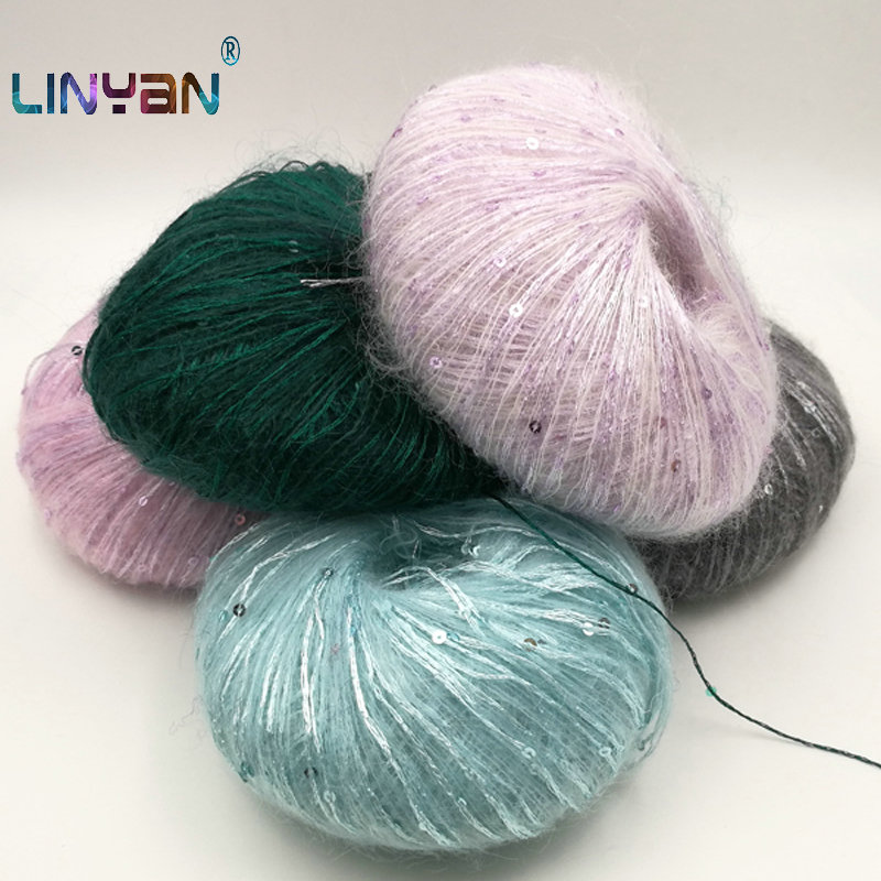 5balls *50g Paillette Wool Yarn For Crochet Sequin Yarn For Knitting Hand Wool Threads Scarf Tippet Mohair Crochet Yarn ZL50