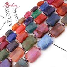 Loose-Stone-Beads Rectangle Bracelets Jewelry Diy Necklace Faceted Agates Making-Strand