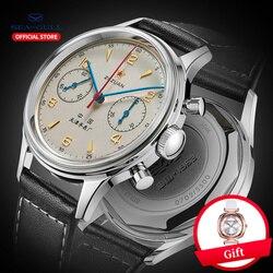 Seagull uhr männliche mechanische uhr offizielle authentische aviation chronograph tabelle möwe 1963 handaufzug mechanische uhr