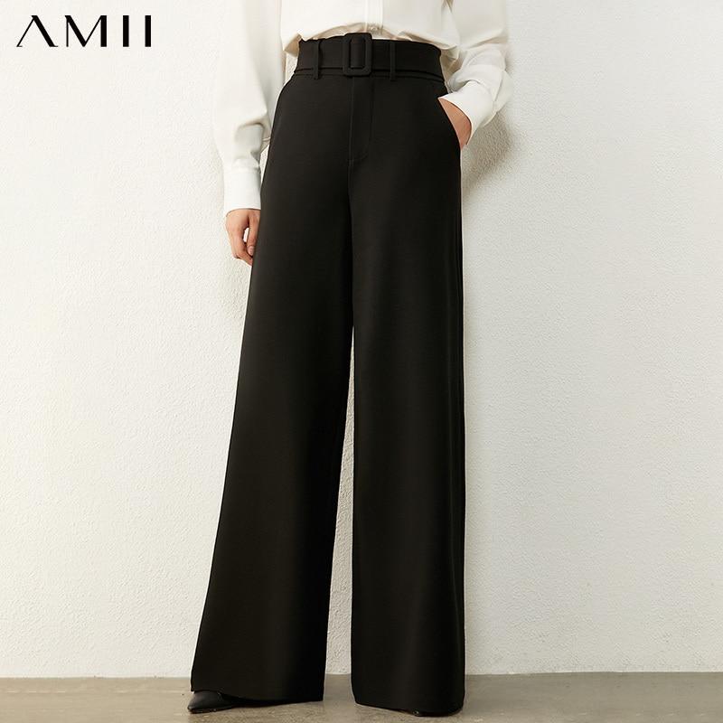 Amii Minimalismus Herbst Kausal frauen Hosen Einfache Hohe Taille Gürtel Solide Lose Breite bein Hosen Weibliche Hose 12030430