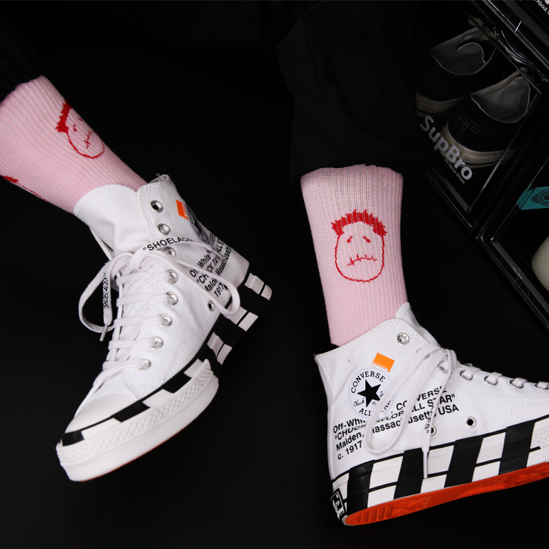 Freeshipping Adult Man Woman Crew Socks Unhappy Face Look Pink Blue Casper Twitch Mouth Street Cred Hipster Fashion HipHop Skate