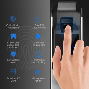 цена на KPIOCCOK Biometric Fingerprint Door Lock Intelligent Electronic Lock Fingerprint Verification With Password & RFID Unlock