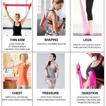 Yoga Pilates Stretch Resistance Band Exercise Fitness Band Training Elastic Exercise Fitness Rubber 150cm natural rubber Gym 5