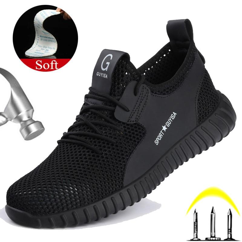 Manlegu/защитная обувь из дышащей сетки; мужские ботинки с прокалыванием; Рабочая обувь со стальным носком; кроссовки; неубиваемая обувь для му...