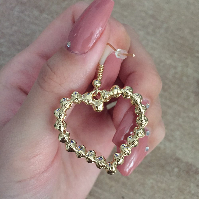 Flashbuy Gold Heart Pearl Drop Earrings For Women Statement Pearl Dangle Earrings Simple Fashion Jewelry Trendy Accessories 4
