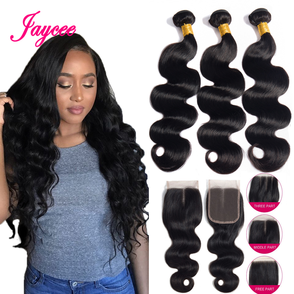Jaycee Brazilian Hair Weave Bundles With Closure Meche Bresilienne Remy Human Hair Extensions Body Wave Bundles With Closure