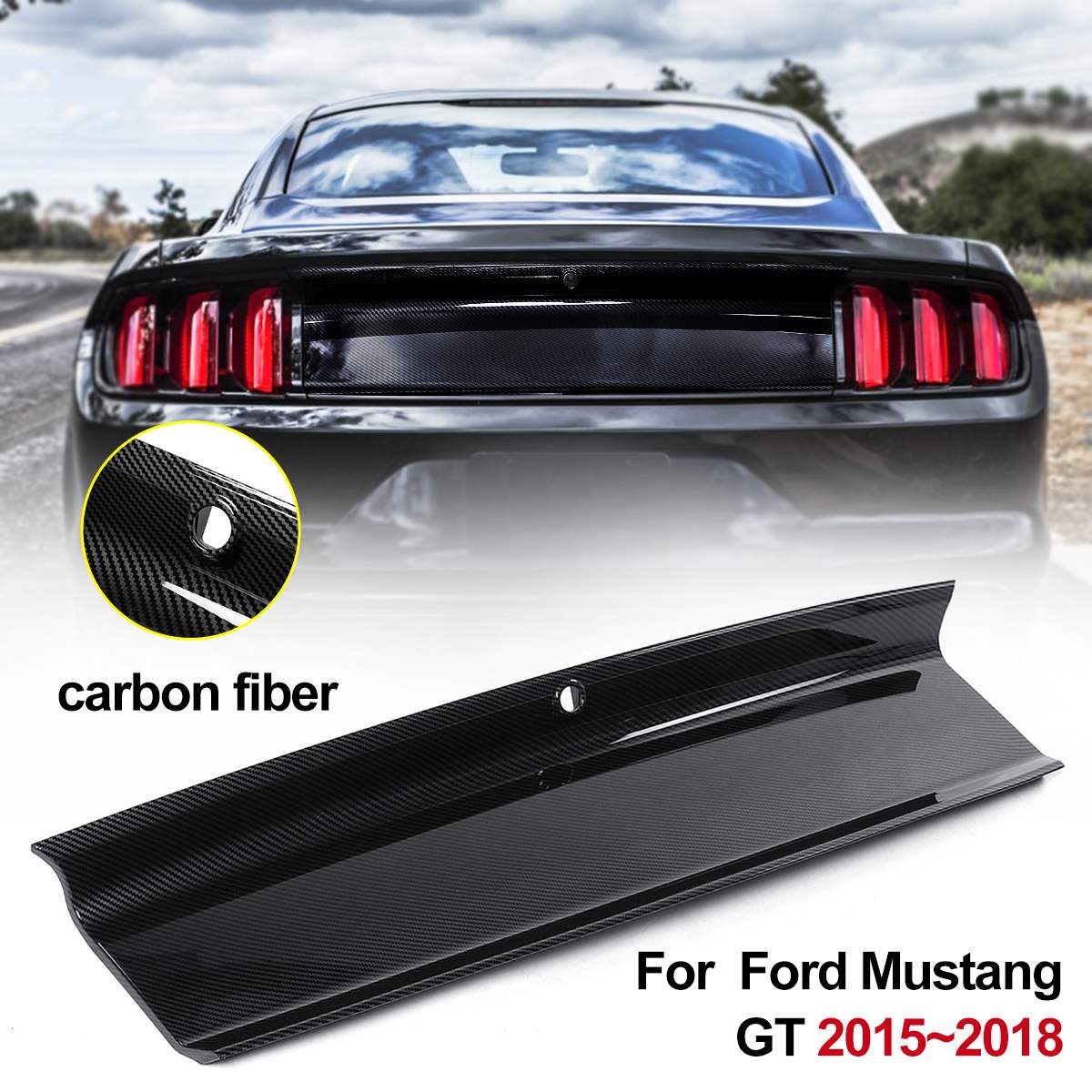Carbon Fiber ABS Rear Lid Trunk Decklid Panel Cover Kit Trunk Boot Lid Panel For Ford For <font><b>Mustang</b></font> <font><b>2015</b></font> 2016 2017 2018 <font><b>2019</b></font> image