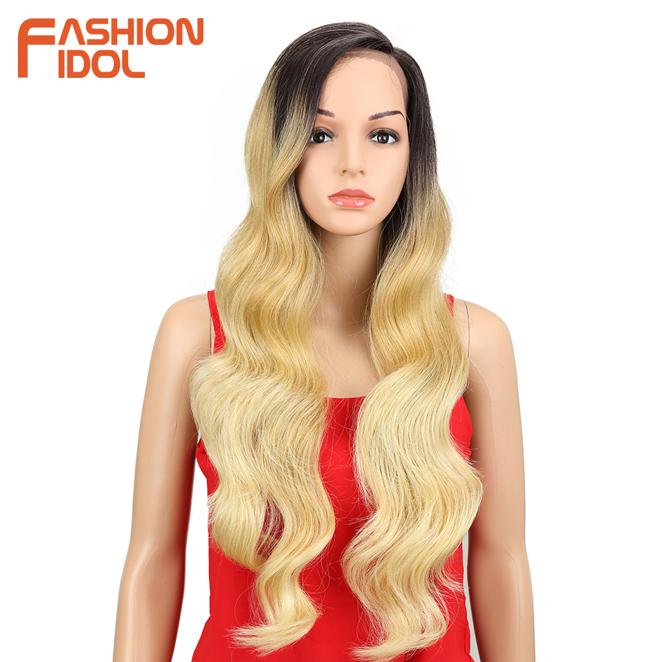 FASHION IDOL Long Wavy Cosplay Wigs For Black Women Ombre Brown Body Wave 22-28inch Glueless Lace Front Wig Synthetic Hair Fiber