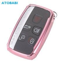 цены ATOBABI TPU Car Key Cover For Land Rover Range Rover Sport EVOQUE Jaguar XF Pink Smart Remote Control Fob Case Protector Key Bag